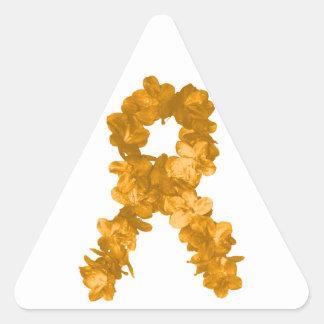 Leukemia Awareness Flower Ribbon Triangle Sticker