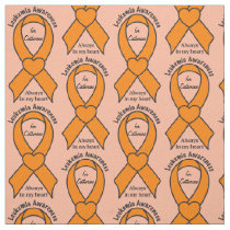 Leukemia Awareness Heart Ribbon Name Customizable Fabric