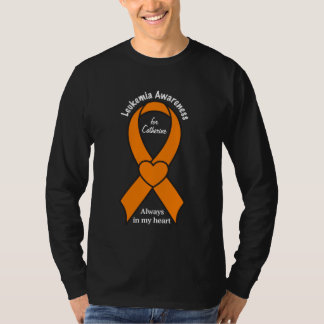 Leukemia Awareness Heart Ribbon Name Customizable T-Shirt