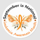 Leukemia Awareness Month Butterfly 3.3 Round Stickers