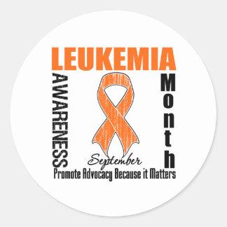 Leukemia Awareness Month Distressed Ribbon Classic Round Sticker