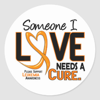 Leukemia Awareness NEEDS A CURE 2 Classic Round Sticker