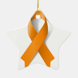 Leukemia Awareness Ribbon Ceramic Ornament