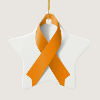 Leukemia Awareness Ribbon Ceramic Ornament