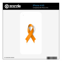 Leukemia Awareness Ribbon iPhone 4S Skin