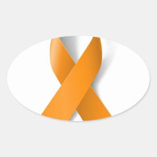 Leukemia Awareness Ribbon Oval Sticker
