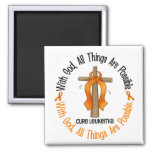 Leukemia Awareness WITH GOD CROSS 2 Inch Square Magnet