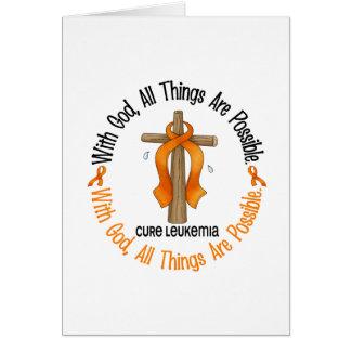 Leukemia Awareness WITH GOD CROSS Greeting Card