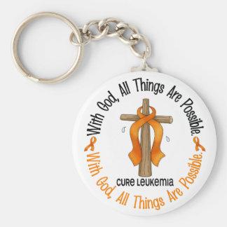 Leukemia Awareness WITH GOD CROSS Keychain