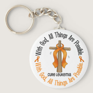 Leukemia Awareness WITH GOD CROSS Keychain