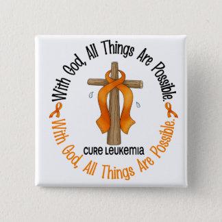 Leukemia Awareness WITH GOD CROSS Pinback Button
