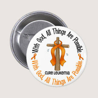 Leukemia Awareness WITH GOD CROSS Pinback Button