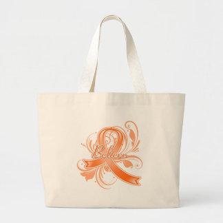 Leukemia Believe Flourish Ribbon Canvas Bag