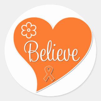 Leukemia Believe Heart Round Sticker