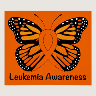 Leukemia Butterfly Awareness Ribbon Poster
