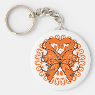 Leukemia Butterfly Circle of Ribbons Basic Round Button Keychain