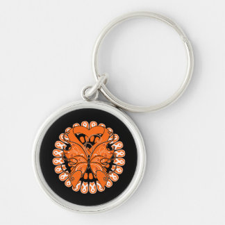 Leukemia Butterfly Circle of Ribbons Key Chain