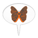 Leukemia Butterfly Collage of Words Cake Picks