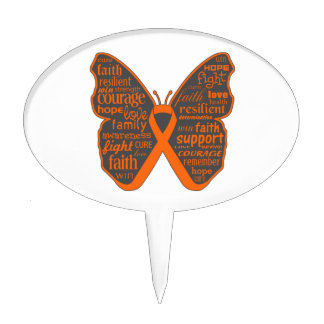 Leukemia Butterfly Collage of Words Cake Topper