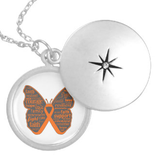 Leukemia Butterfly Collage of Words Round Locket Necklace