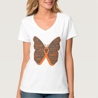 Leukemia Butterfly Collage of Words T-Shirt