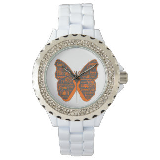 Leukemia Butterfly Collage of Words Wrist Watches