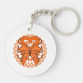 Leukemia Butterfly Heart Ribbon Double-Sided Round Acrylic Keychain