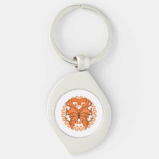 Leukemia Butterfly Heart Ribbon Silver-Colored Swirl Metal Keychain