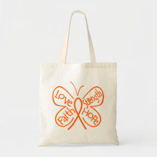 Leukemia Butterfly Inspiring Words Budget Tote Bag
