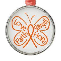 Leukemia Butterfly Inspiring Words Metal Ornament