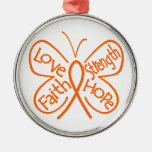 Leukemia Butterfly Inspiring Words Round Metal Christmas Ornament