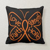 Leukemia Butterfly Inspiring Words Throw Pillow