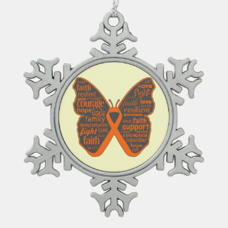 Leukemia Butterfly Words of Hope Snowflake Pewter Christmas Ornament