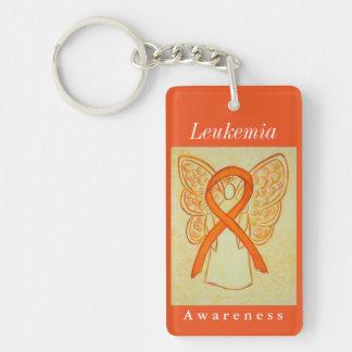 Leukemia Cancer Awareness Ribbon Angel Keychain