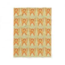 Leukemia Cancer Awareness Ribbon Fleece Blankets