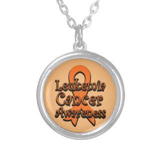 Leukemia Cancer Awareness Ribbon Round Pendant Necklace