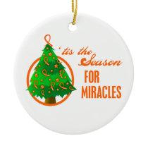 Leukemia  Cancer Christmas Miracles Ceramic Ornament