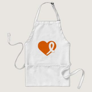Leukemia Cancer Orange Heart and ribbon apron