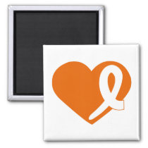 Leukemia Cancer Orange Heart ribbon square magnet