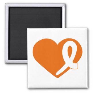 Leukemia Cancer Orange Heart ribbon square magnet