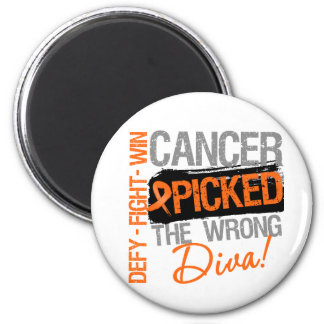 Leukemia Cancer Picked The Wrong Diva 2 Inch Round Magnet