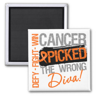 Leukemia Cancer Picked The Wrong Diva 2 Inch Square Magnet