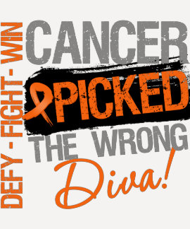 Leukemia Cancer Picked The Wrong Diva Tee Shirt
