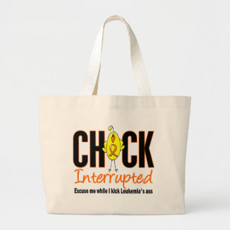 Leukemia Chick Interrupted Large Tote Bag