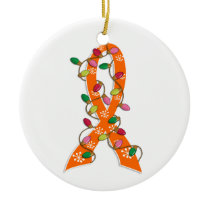Leukemia Christmas Lights Ribbon Ceramic Ornament