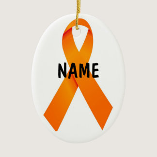 Leukemia Christmas Ribbon Ceramic Ornament