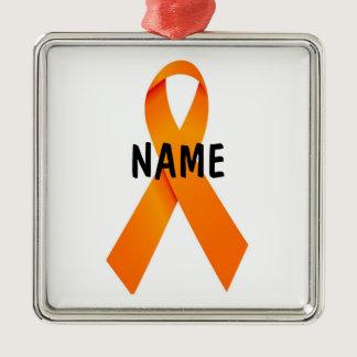 Leukemia Christmas Ribbon Metal Ornament