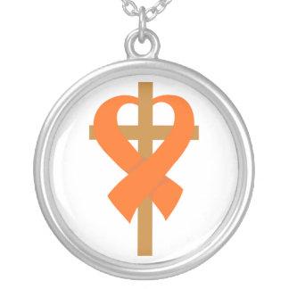 Leukemia Cross Heart Ribbon Round Pendant Necklace