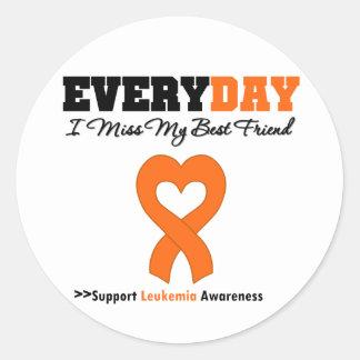 Leukemia Every Day I Miss My Best Friend Round Stickers