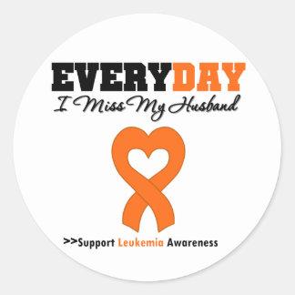 Leukemia Every Day I Miss My Husband Classic Round Sticker
